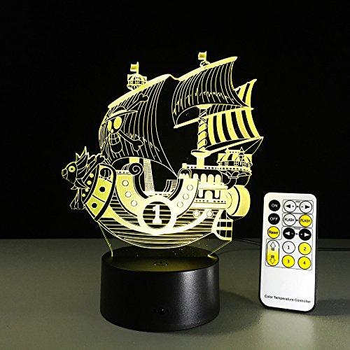 Piratenboot USB Acryl Gravur Gradient Friends 3D LED Nachtlicht Tischlampe Nachttisch Dekoration Kinder Geschenk