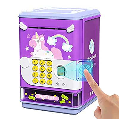 Deejoy Piggy Bank Toy Electronic Mini ATM Savings Machine with Personal Password & Fingerprint Unlocking Simulation - Music Box with Songs for Kids, Boys and Girls Age 3-8 Years (Purple) by Deejoy