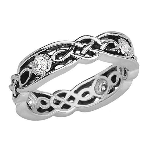 Elegant Black and Sterling Silver CZ Vintage Celtic Knot Wedding Band (Size 7)