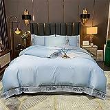 YYSZM Textiles para El Hogar Bordado Seda Lavada Sencillo Suave Y Cómodo Conjunto De 4 Piezas 220x240cm