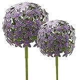 Glücksgriff Dekor | Allium Gartenstecker | 16x16cm & 20x20cm | 2er Set | Purple violett Metall | Gartendeko | Rankhilfe