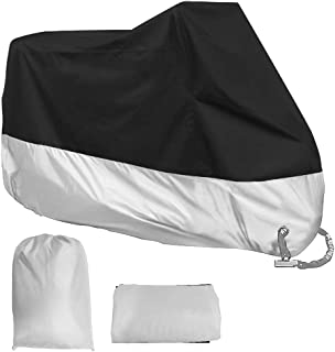 Acelane Motorcycle Cover, All Season Waterproof Outdoor Dustproof Durable Vehicle Cover with Lock Holes Fits up to 116 inches for Harley Davidson, Honda, Suzuki,Yamaha and More