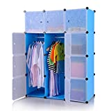 MCTECH Regal Garderobe Kleiderschrank Schrank Steckregal Regalsystem Standregal DIY (12 Boxen, Blau)