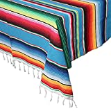 OurWarm 59 x 84 Inch Mexican Serape Blanket Tablecloth for Mexican Party Wedding Decorations, Large Square Cotton Table Cloth Colorful Mexican Blanket Outdoor Table Cover (Blue)