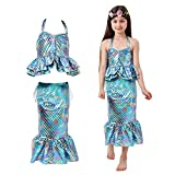Vestido de niña pequeña Sirena Princesa cumpleaños Vestido Elegante Disfraz Fiesta de Halloween Falda niño Cosplay (L)