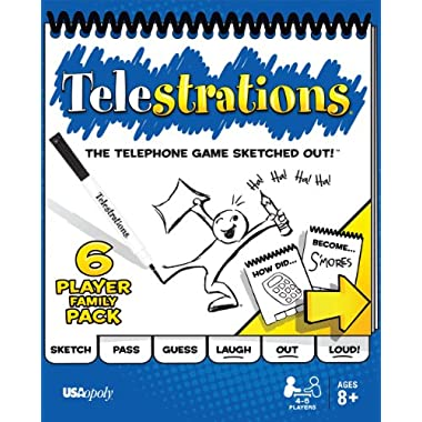 USAopoly Telestrations Original 6 Player Board Game   #1 LOL Party Game   Play with Your Friends & Family   Hilarious Game For All Ages   The Telephone Game Sketched Out