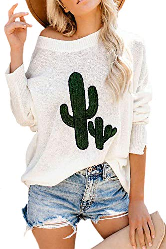 YACUN Donne off Spalla Sudatori Batwing Sleeeve Cactus Coltelli Pullover Bianco M