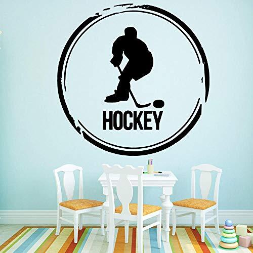 Hockey Wall Art Decal Etiqueta De La Pared Material De Pvc Para La Decoración De La Habitación De Los Niños Diy Pvc Accesorios De Decoración Del Hogar 58X58Cm