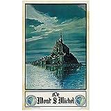 Nbqwdd Carteles De Turismo De Francia Le Mont Saint-Michel 1948 Cuadros De Pared Clásicos Pintura De Lienzo Cartel Vintage Decoración De Bar para El Hogar Regalo-50X70Cmx1 Sin Marco