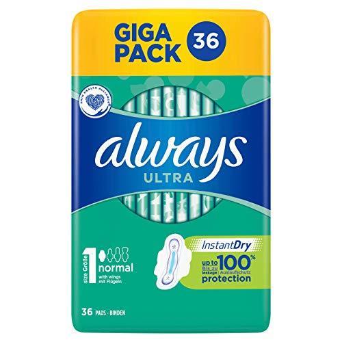 Always Ultra Normal Lot de 36 serviettes hygiéniques avec ailettes 168 g