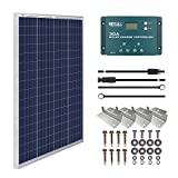 HQST 100W 12V Polycrystalline Solar Panel Kit with 30A PWM LCD Solar Charge Controller, 20Ft 12AWG Panel and Controller Connector...