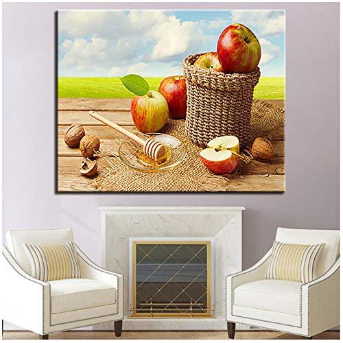 Walnoot appel honing digitaal schilderen schilderij abstract schilderij canvas muur kunstenaar huisdecoratie 60x80cm (randloos)