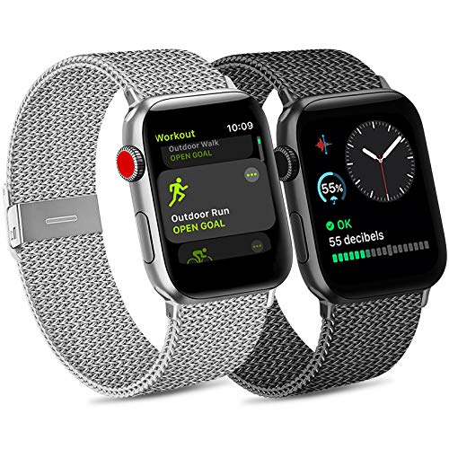 Pack 2 Metal Strap Compatible with Apple Watch Strap 42mm 38mm 44mm 40mm, Stainless Steel Mesh Metal...