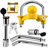 """Trailer Hitch Security Lock Set Including Yellow U-Shaped Universal Ball Hitch Lock #72783, 1/2"""" and 5/8"""" Receiver Hitch Pin Lock, Golden Trailer Hitch Lock Coupler Locking Pin, Share the Same 2 Keys"""