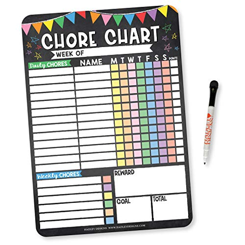 Colorful Chalk Dry Erase Chore Chart for Multiple Kids, Chore Reward Chart for Multiple Kids, Good Behavior Chart for Kids at Home Magnetic Chore Chart for Kids Multiple Kids, Schedule Board for Kids