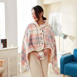Blanket Shawl Wraps for Women, Plush Wearable Blanket and Wraps Lightweight Microfiber Throws with Buttons for Sofa Office, Traveling and Outdoor,Color Block Plaid Design (Medium, Pink Gray Fine Grid)