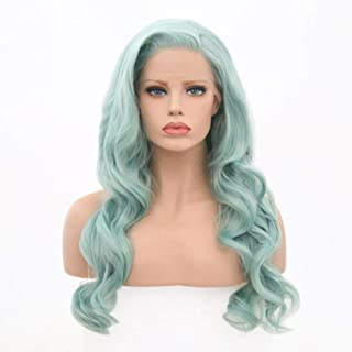 Bernect Blue Green Wig Long Curly Wave Lace Front Wigs Side Part Glueless Heat Resistant Fiber Hair Natural Hairline For Women Mint Green Cosplay wigs