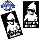 SkinoEu® 2 Stück Vinyl Aufkleber Autoaufkleber Stickers Baby On Board Kind Kinder an Bord Kind Sicherheit Auto Motorrad Fahrrad Fenster Tür B 172