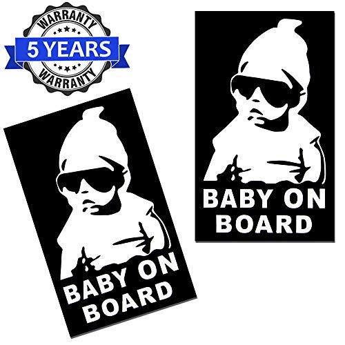 SkinoEu® 2 x Adesivi Vinile Stickers Autoadesivi Bimbo a Bordo Bambino con Occhiali Baby On Board per Auto Moto Finestrino Porta Tuning B 172