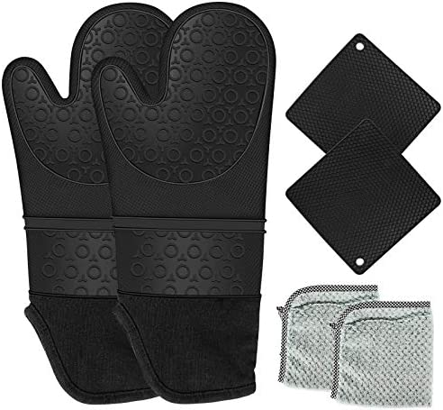 Baysitone Silicone Oven Mitts and Pot Holders with Dish Cloth 6 Piece Set 450 Degree Heat Resistant product image