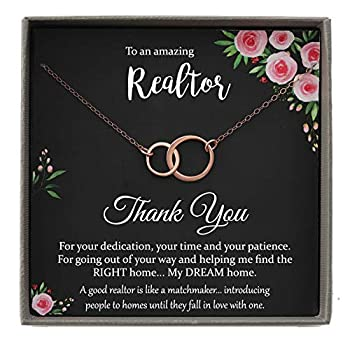 Realtor Gifts for Women Thank you Gift 2 Interlocking Circles Necklace with Meaningful Message