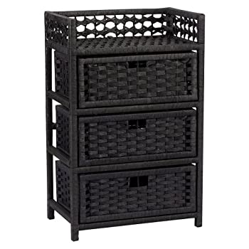 Household Essentials Hand-Woven Paper Rope 3-Drawer Chest Black Stain