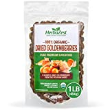 Goldenberries Dried Organic - Healthful & Delicious - Vegan & USDA Certified - 16oz (454g) - Perfect for Snacks, Baked goods, Yogurt, Cereal & Smoothies