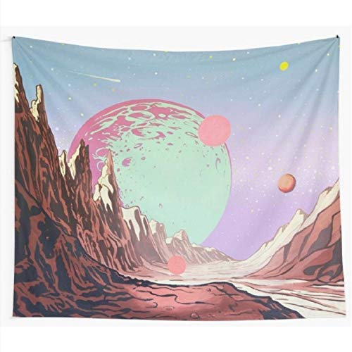 YYZCM Green Moon Space Tapestry Wall Hanging Home Decor Fabric Tapestry Psychedelic Dorm Wall Mat Yoga Rug Tapestry - L/148 x 200 cm