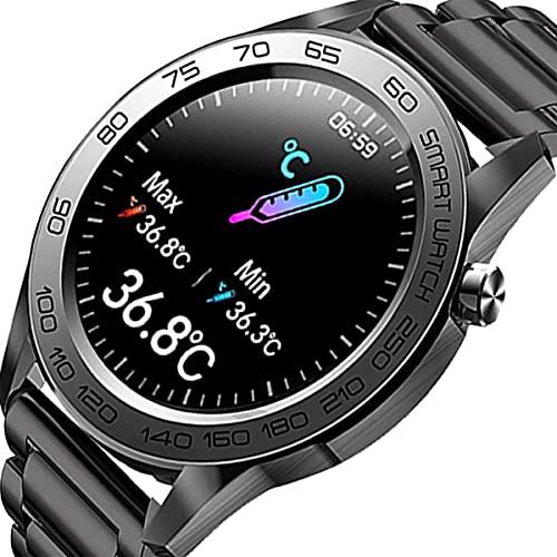 Zodvboz Relógio Inteligente Masculino,IP67 à Prova d'água, Rastreador de Atividades com Monitor de Frequência Cardíaca, Tela Sensível ao Toque, Pulseira de Aço inoxidável Homens Smartwatch Chamada Bluetooth, para iOS, Android (Preto)