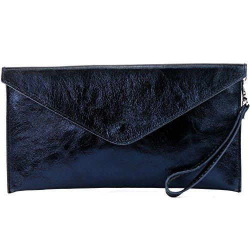 modamoda de- ital. Borsa in pelle Clutch Underarm Bag Borsa da sera in pelle metallizzata M106-151, Colore:M106 Blu scuro metallizzato