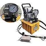BTdahong Bomba hidráulica eléctrica de 700 bares, bomba hidráulica + válvula de pedal manual de accionamiento único, manguera de aceite + conector rápido 750 W, 7 l