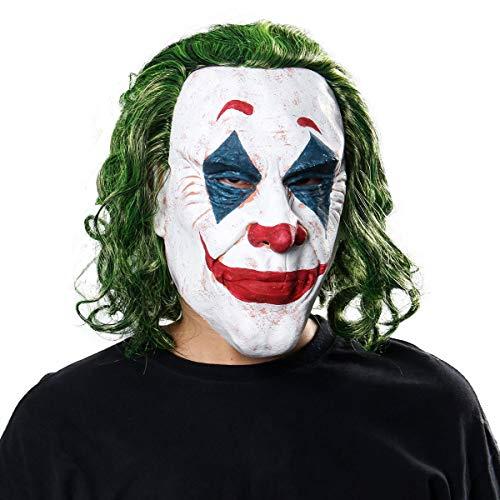NUWIND Joker Maschera in Lattice con Capelli Verdi, Maschera Completa inquietante Arthur Fleck Maschera da Clown Accessorio per Halloween Puntelli Cosplay Travestimento Adulto