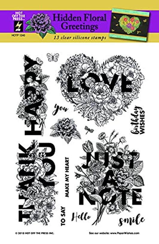 "Hidden Floral Greetings Clear Silicone Stamp Set by Hot Off The Press | 6""x8"" Sheet with 13 Stamps"