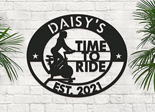 DKISEE Cartel de bicicleta estática personalizada, cartel de metal personalizado, arte de pared de metal para salón, dormitorio, cocina, jardín, patio, decoración, 24 pulgadas, blanco, lll3453
