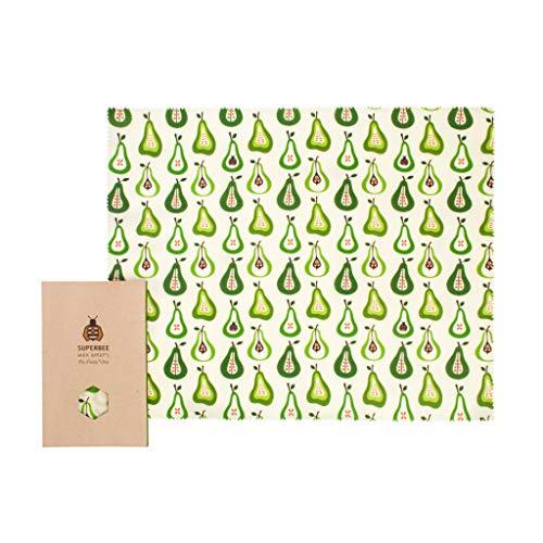 SuperBee Bienenwachstuch | Big Daddy XXL Brot Wax Wrap | Birnen | zertfizierte Bio-Baumwolle, Wiederverwendbar, Umwelt-Freundlich, Zero Waste Brot Wrap, 100% Kompostierbar