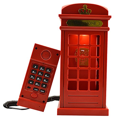 Cabina telefónica Vintage Londres diseñado USB carga noche LED lámpara Touch Sensor mesa escritorio ligero brillo ajustable con cable teléfono fijo para casa dormitorios decoración novedad regalo vacaciones