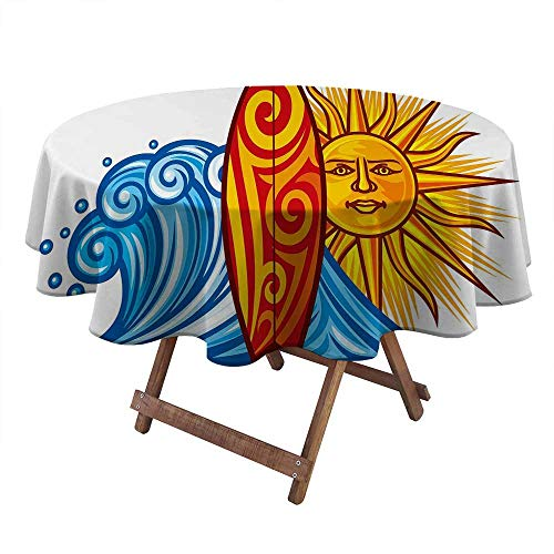 Philip C. Williams Outdoor tablecloths Ride The Wave Round Outdoor Tablecloth Ocean Wave with Sun and Surfboard Lifestyle Summer Freedom Image Kids Picnic Table BBQ Decorations Vermilion Yellow Blue