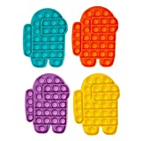 ZYW Pop It Fidget Toy Pack, 4 Piezas Among Us Kit De Herramientas para Aliviar El Estrés Y La Ansiedad para Niños Y Adultos