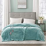 Beautyrest Heated Plush Elect Electric Blanket with 20 Heat Level Setting Controllers Equip with Secure Comfort Technology and 10 Hours Auto Shut Off, Full: 80x84, Aqua,BR54-0904
