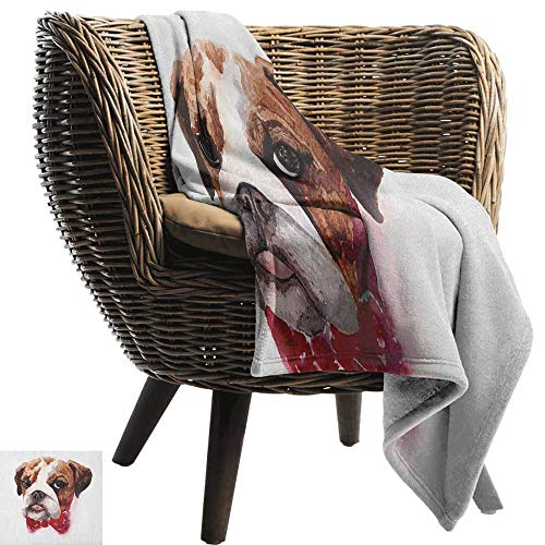 ZSUO baby maand deken Engels Bulldog,Traditionele Engels Detective Hond met een pijp en hoed Sherlock Holmes Image Multi kleuren Alle seizoenen Licht Gewicht Woonkamer/slaapkamer