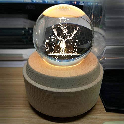 9 différents 3D gravure boule de cristal boîte à musique en bois boîte à musique lumineuse main rotation anniversaire mécanique cadeau de Noël-Wapiti