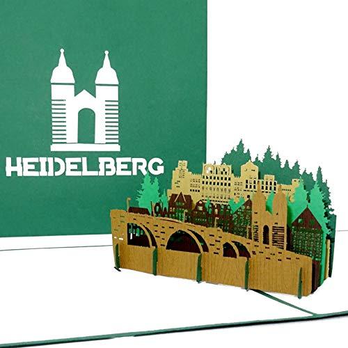 """Pop Up Karte """"Heidelberg – Alte Brücke & Heidelberger Schloss"""" - 3D Grußkarte als Souvenir, Geschenk, Geburtstagskarte & Einladung zur Städtereise"""