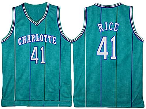 jiaju Ropa Baloncesto para Hombres NBA Jersey Hornets 41# arroz Retro 2021 Transpirable Secado rápido Resistente al Desgaste sin Mangas Chaleco para Deportes, Verde, m (Color : Green, Size : S)