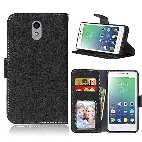 FUBAODA für Lenovo Vibe P1M Tasche Schwarz, [Hautfre&lich][Wildleder] Leder Hülle, Flip Leder Money Brieftasche, Hülle für Lenovo Vibe P1M (schwarz)