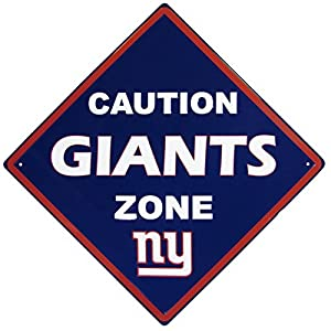 NFL Siskiyou Sports Fan Shop New York Giants Caution Wall Sign Plaque 14 inch Team Color