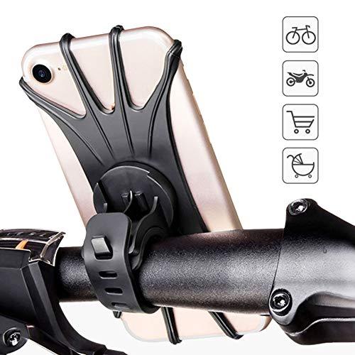 Fahrradtelefonhalterung 360 ° Drehung Silikon Fahrradtelefonhalter Universelle Motorradlenkerhalterung Passend für Iphone 11 Pro Max/XR/XS Max / 8 Galaxie S20 / S9 4. 0-6. 0