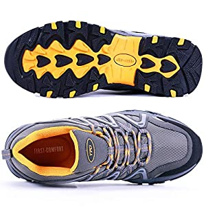 TFO Hiking Shoes Men Waterproof Air Circulation Insole Ankle Support Non-Slip Lightweight for Outdoor Trekking Walking Grey
