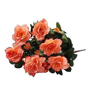 Silk Flower Arrangements Artificial Flowers,Vibola Simulation of Azalea Safflower Bouquet Home Wedding Decoration (Orange)