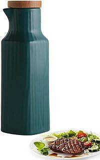 Oil Bottle Vintage Oil Bottle Ceramic Oil & Vinegar Dispenser, Oil Bottle Kitchen Oil Tank, Leak-Proof Pourer Dustproof, S...