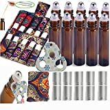 15PACK Esenciales Carrying Case Holds roll on vidrio 5ml 10ml Perfect for Travel Home Stock Include 10 X 1/3 OZ Roll Bottles with Stainless Steel Roller Ball And 1X Eessential oil Opener and 2X 3ml Dropper Transfer For Oils (A With 10Ml Bottles)